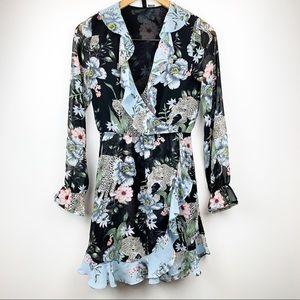 DIVIDED Conscious Floral Leopard wrap Dress 6